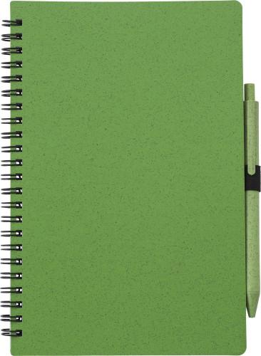Anteckningsbok i vetestrå med penna